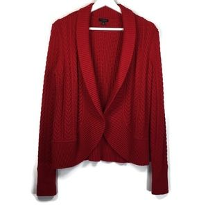 Talbots cable knit open cardigan